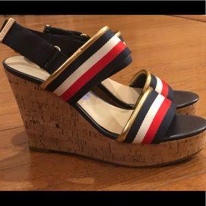NWOT Tommy Hilfiger Cork Heel Wedge Sandals Sz 8.5